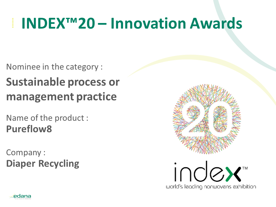 INDEX20 Innovation awards intro slide Diaper recycling